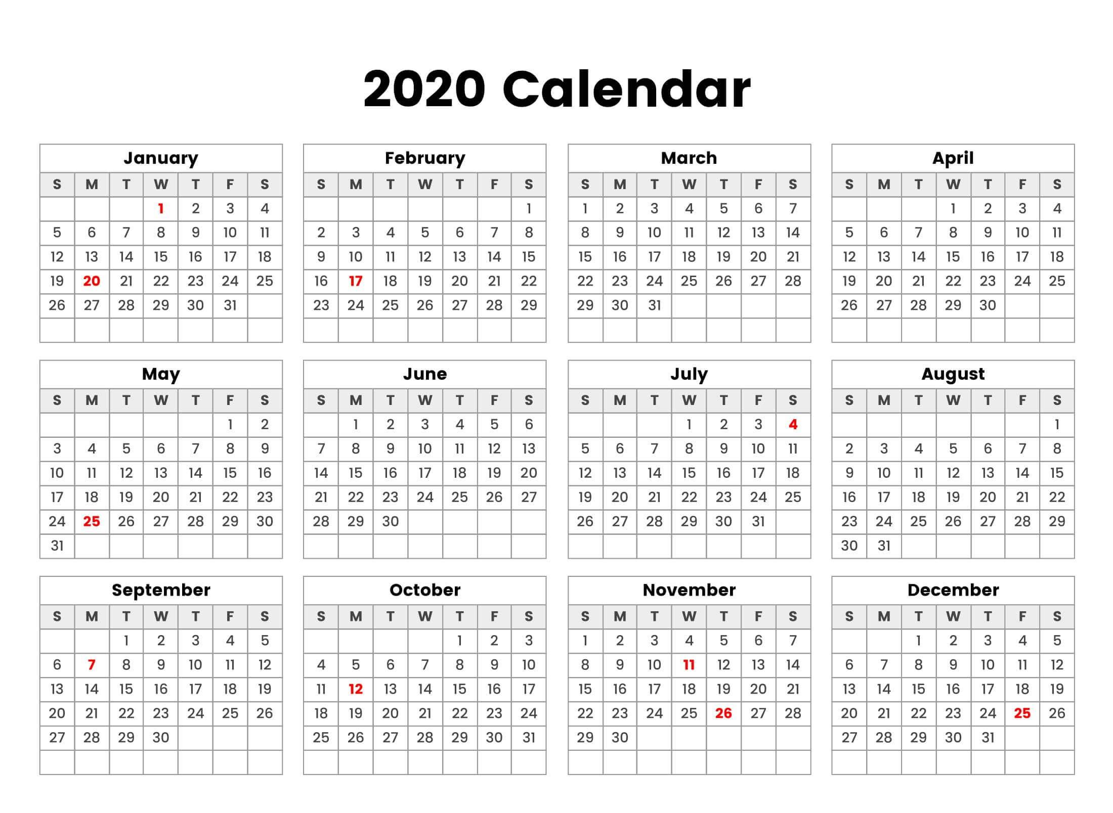 Take 2020 All Year Calendar | Calendar Printables Free Blank throughout All Year Calendar
