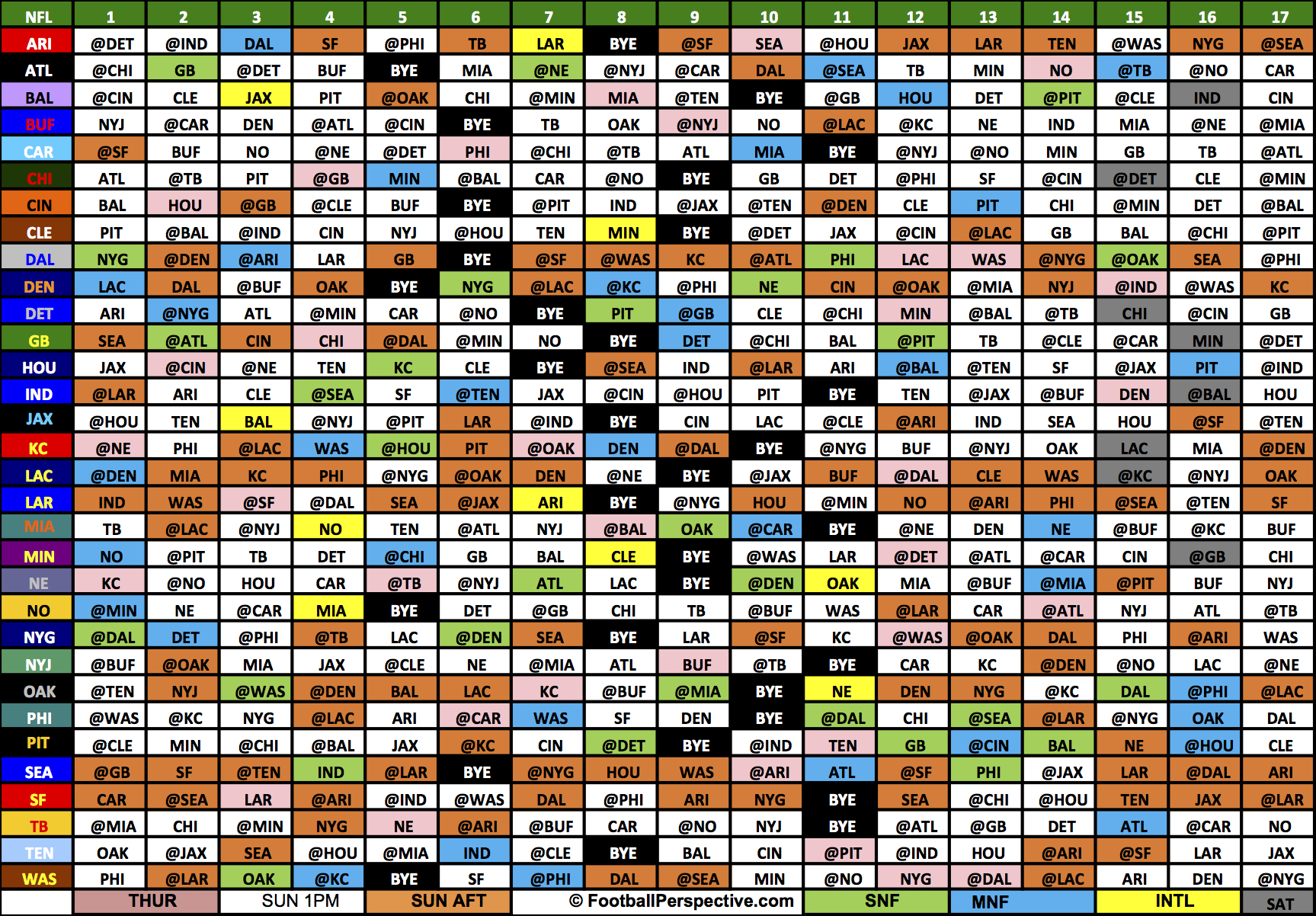 The 2017 Nfl Schedule throughout Printable 2021 Full Nfl Schedule