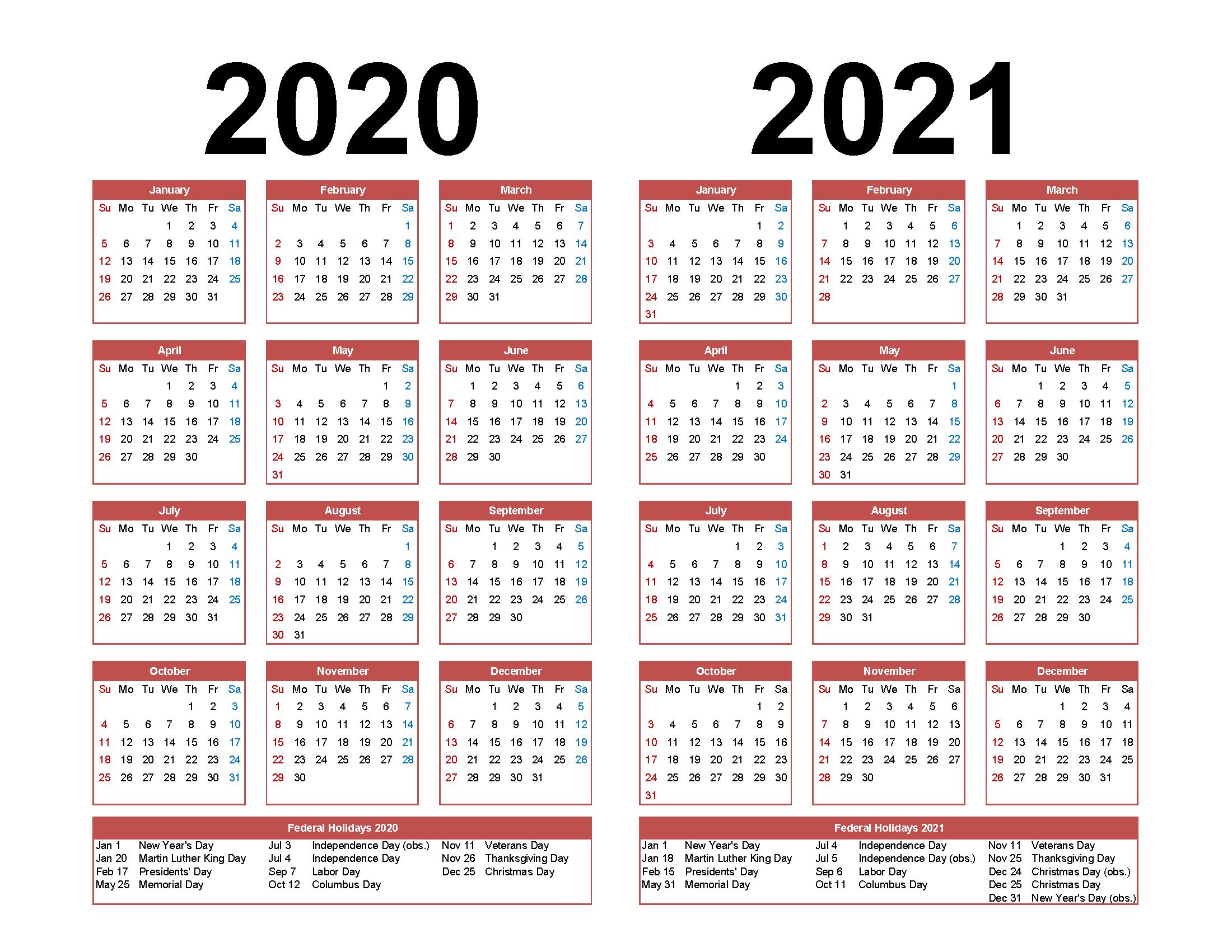 Two Year Calendar 2020 2021 - Calendar Printable Free throughout Wizard Calendar 2021