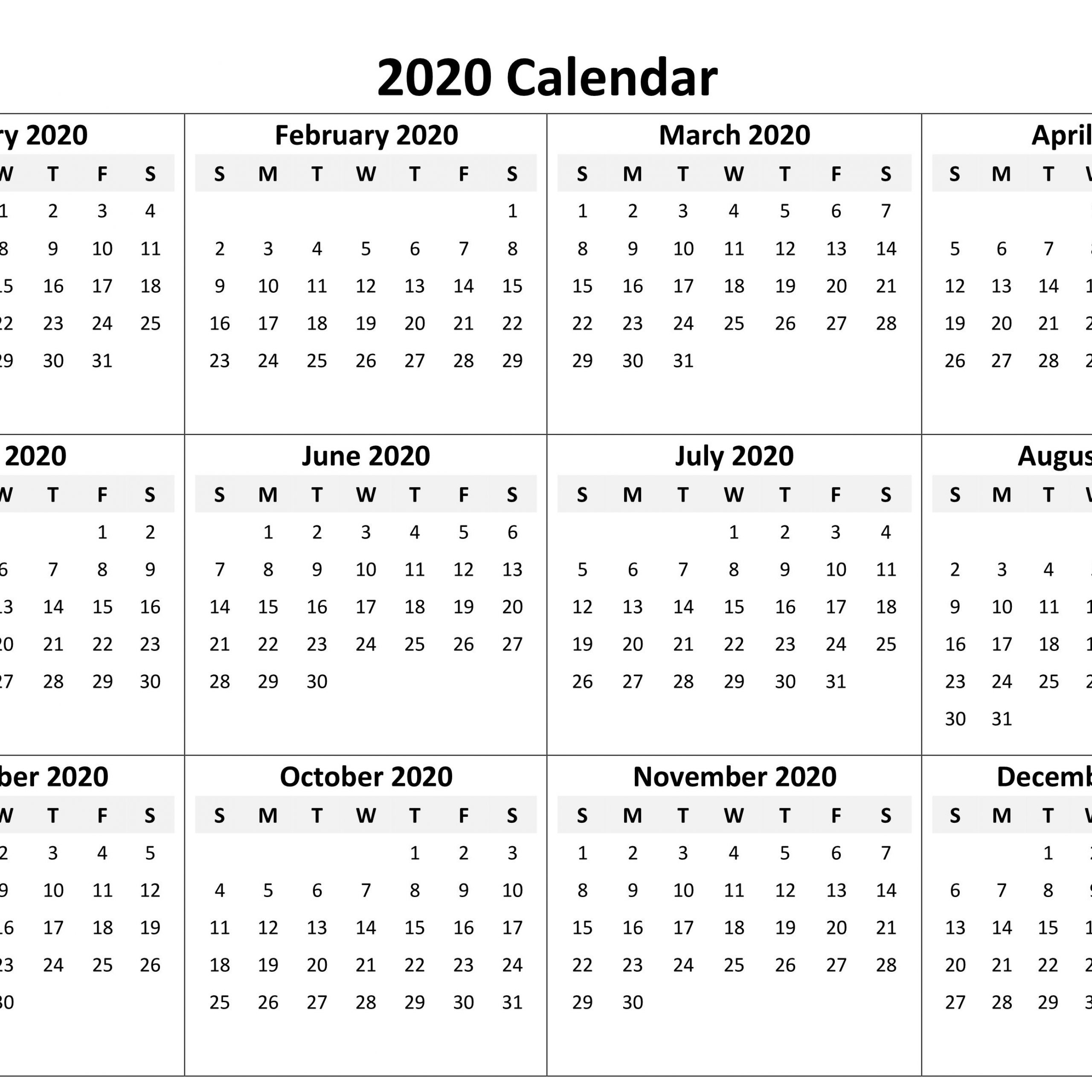 Vertex42 Printable 2020 Calendar   Free Printable Calendar for Vertex Yearly Calendar