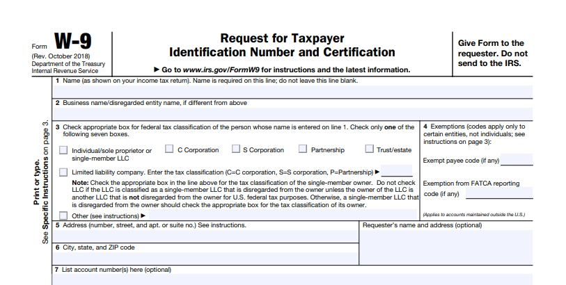 W-9 Tax Form Printable | W9 Forms 2020 Printable for Irs Forms W 9