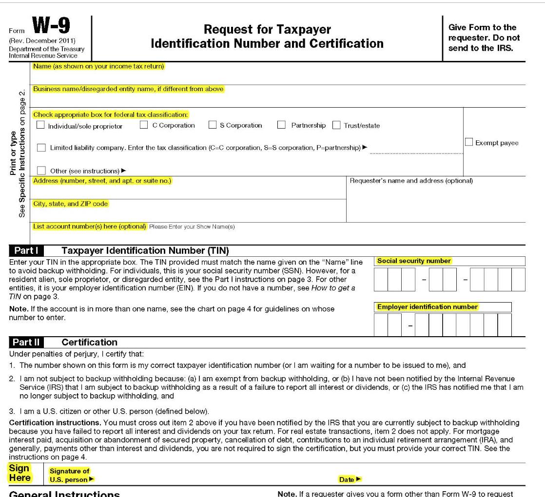 W9 Form 2019 | W. 2019-11-16 throughout W9 Free Form