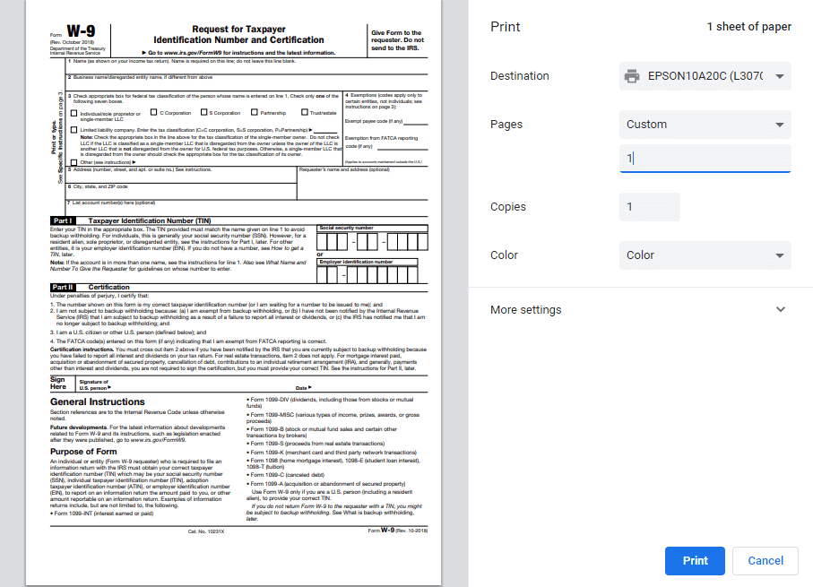 W9 Form 2020 - W-9 Forms pertaining to W 9 Forms To Print