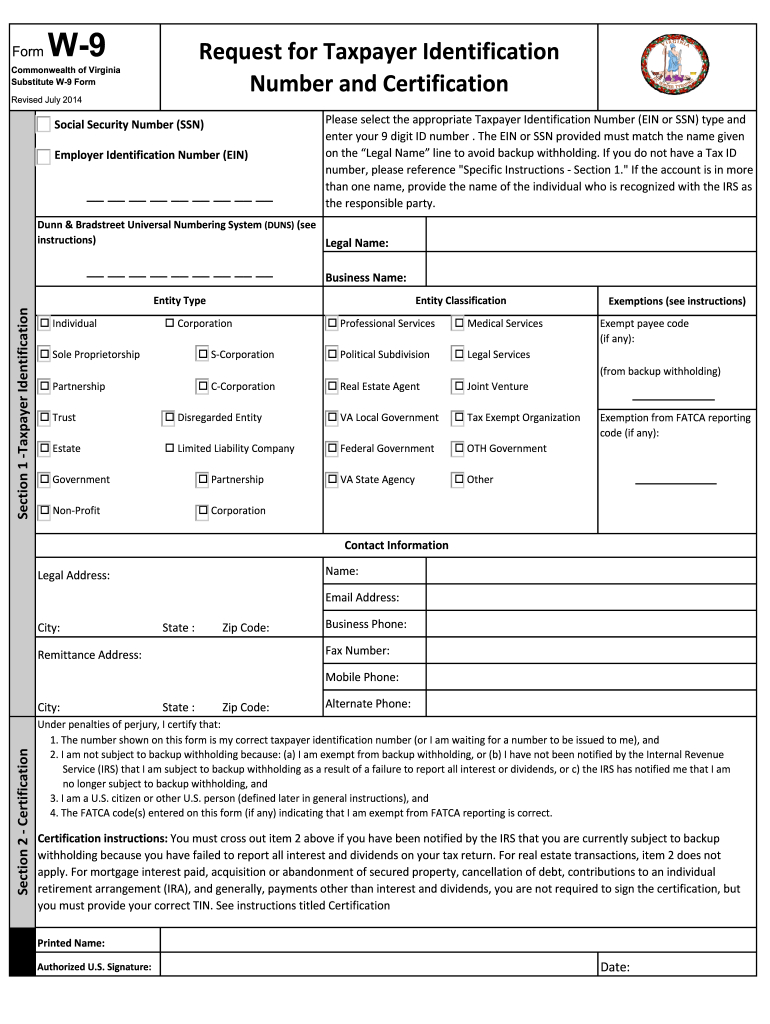 W9 Virginia - Fill Out And Sign Printable Pdf Template in Print Free W9 Form