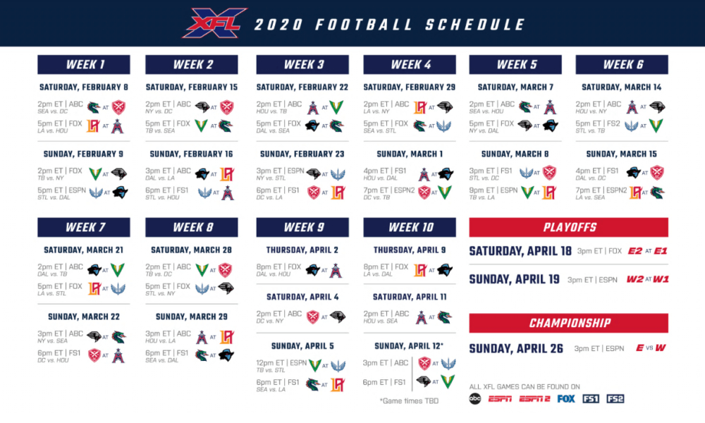 Xfl Season Schedule Released:find Out Who Plays Who In The with regard to Nfl Printable Schedules 2021