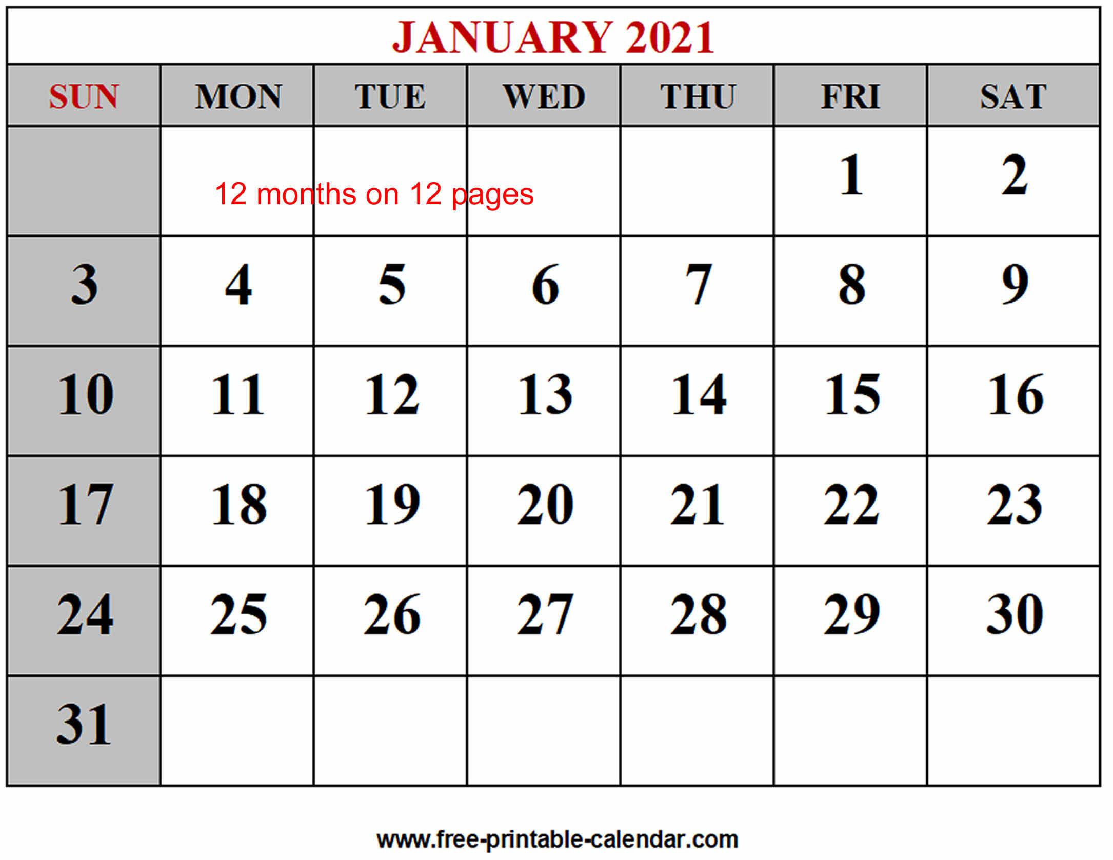 Year 2021 Calendar Templates - Free-Printable-Calendar within Free Fillable Calendar 2021