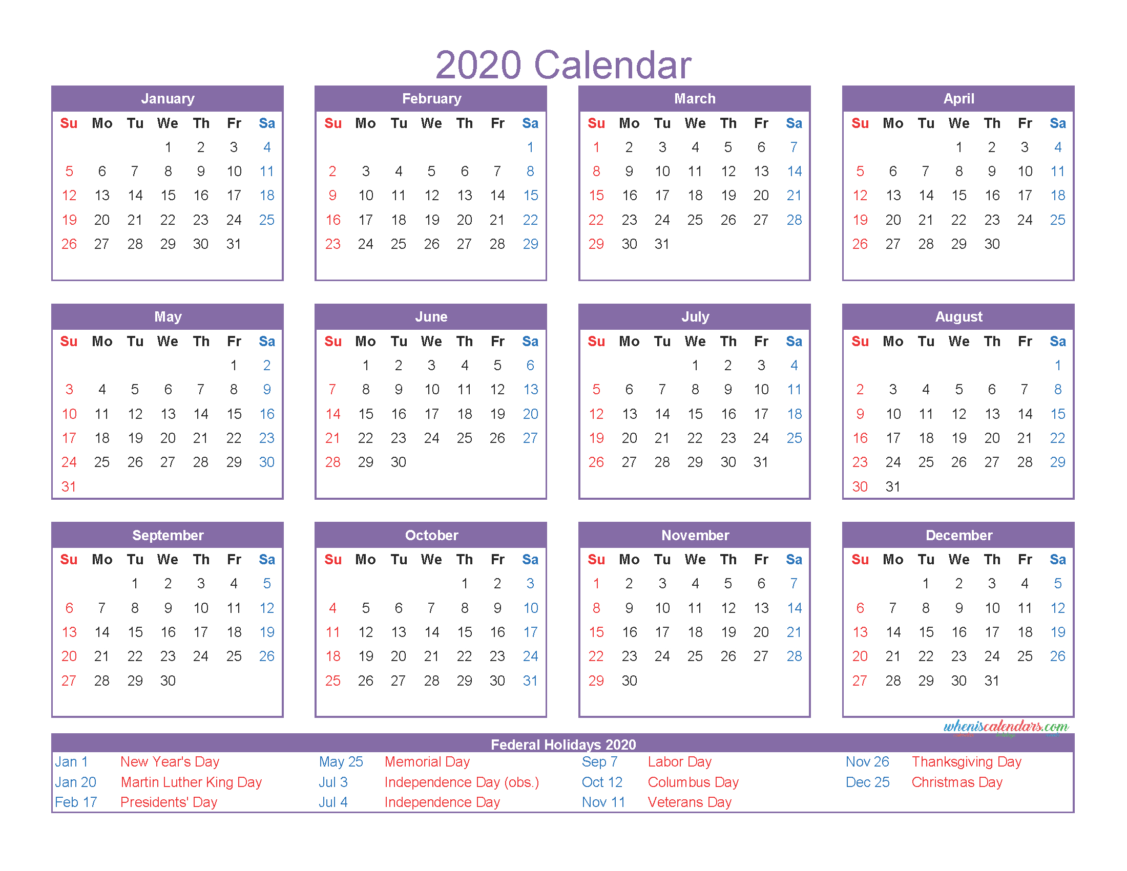 12 Month Calendar On One Page 2020 Printable Pdf, Excel intended for Connect Excel To Calendar