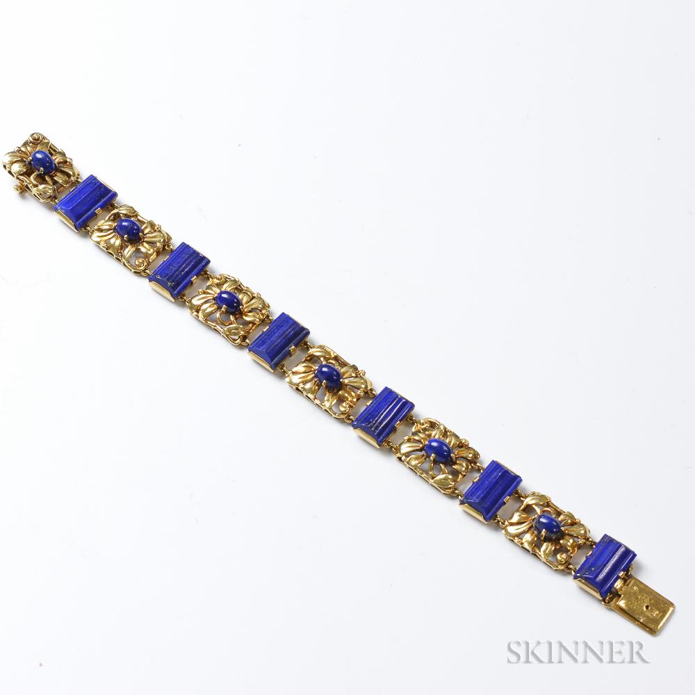 18Kt Gold And Lapis Floral Bracelet | Sale Number 3047T inside Turning Stone October Calendar 2022