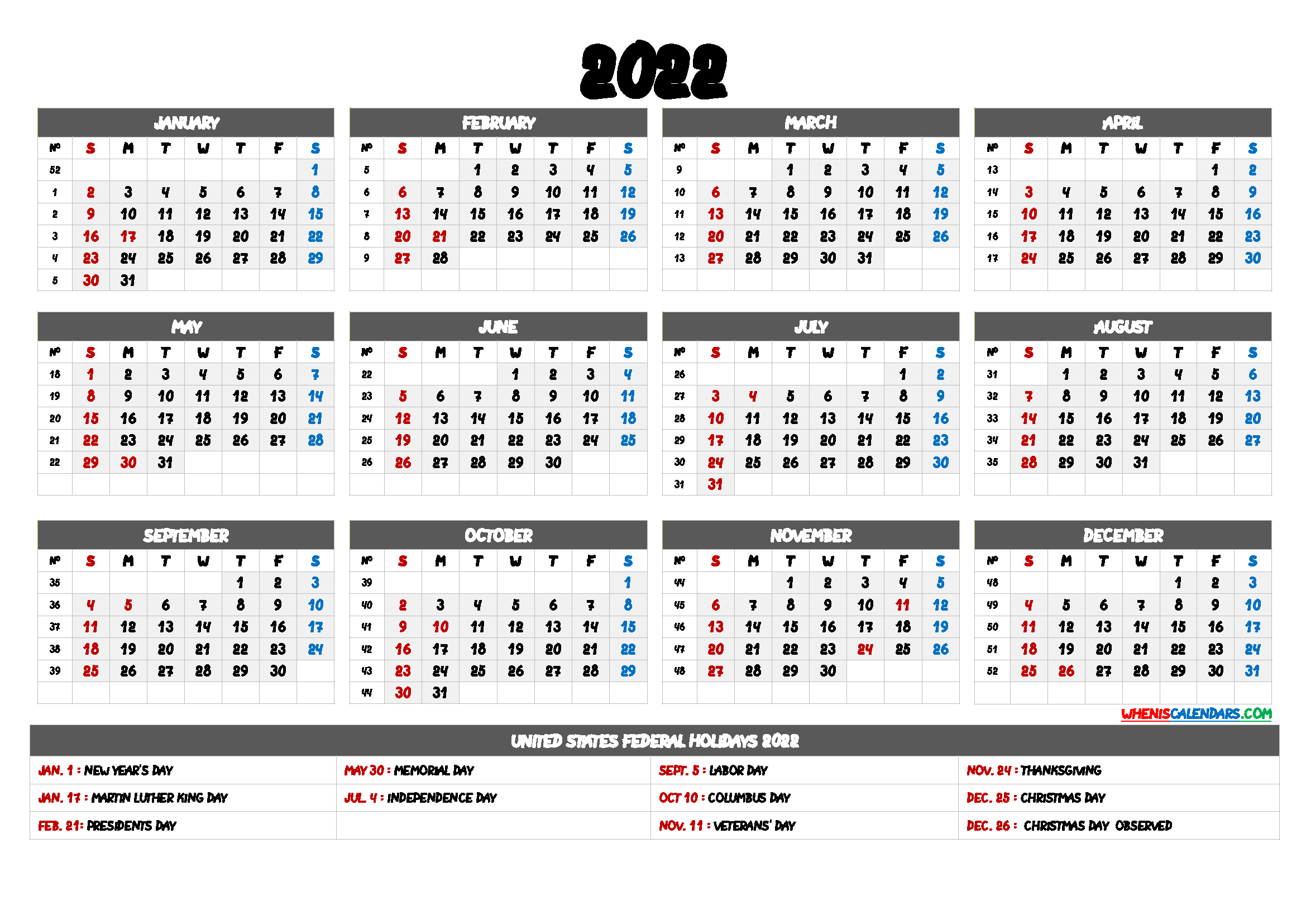 20+ 2022 Holidays - Free Download Printable Calendar regarding Julian Date For 2022