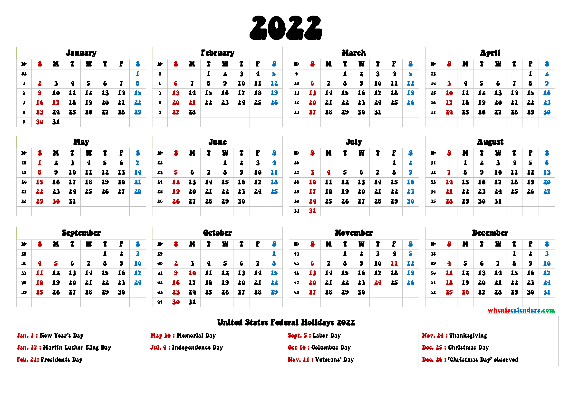 20+ Federal Holidays 2022 - Free Download Printable throughout Yearly Julian Calendar 2022