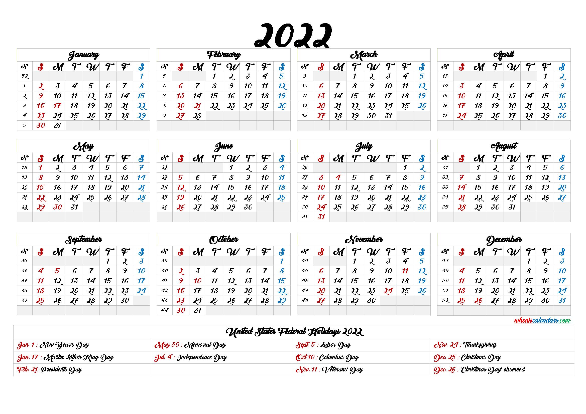 20+ Printable Calendar 2022 - Free Download Printable inside Julian Calendar 2022 Printable