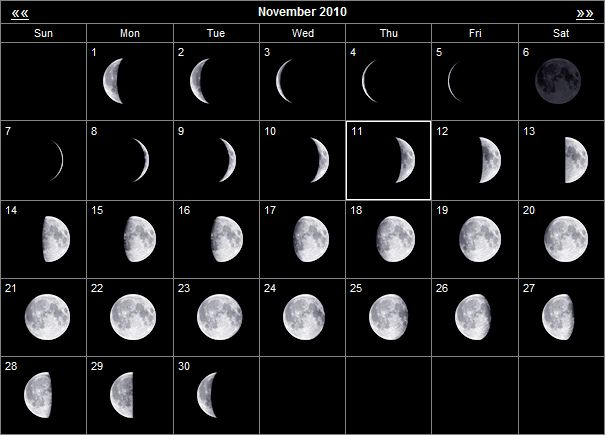 2010 Moon Phases For November And December - General with regard to 20222 Lunar Hunting Calendar
