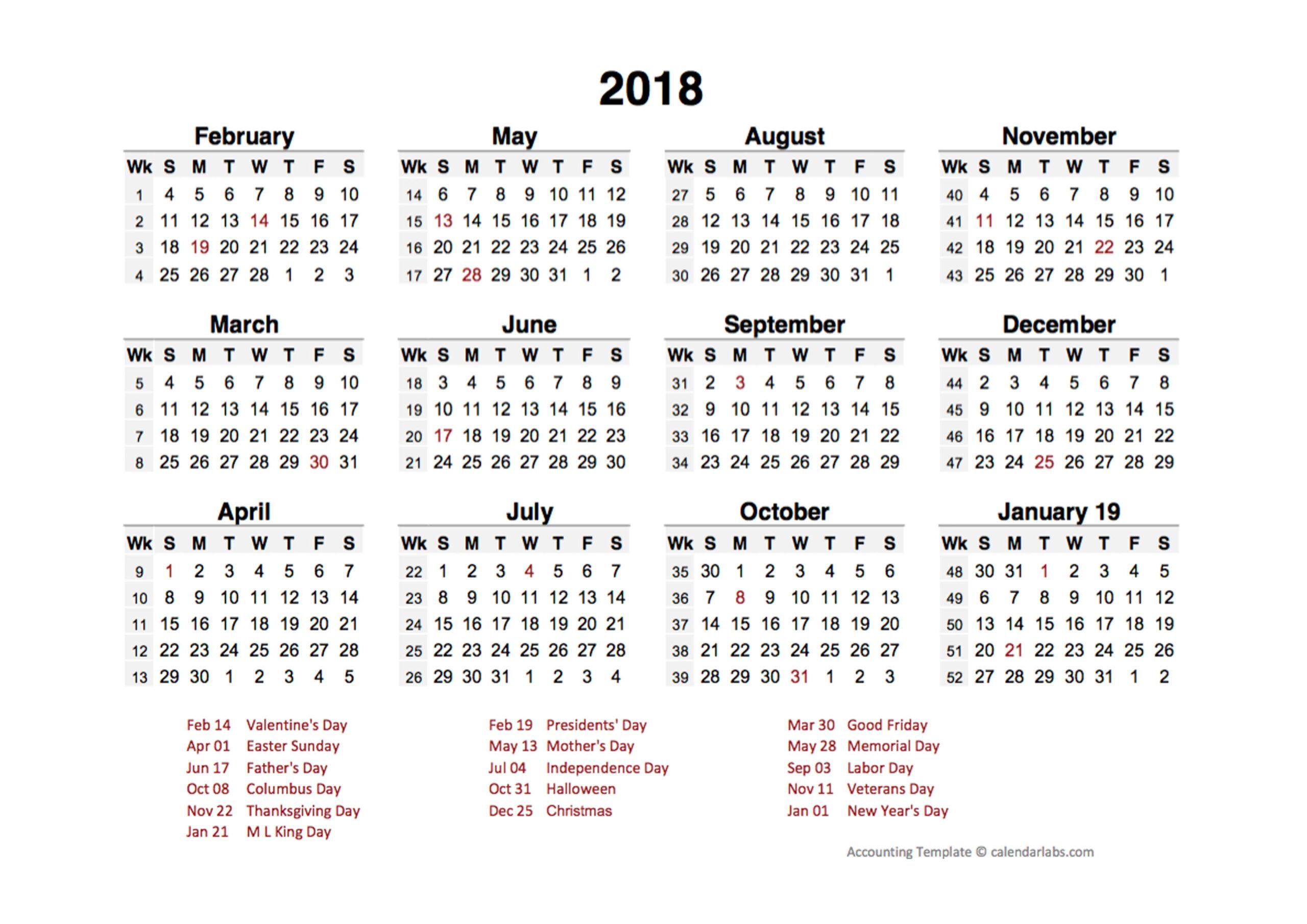 2018 Accounting Period Calendar 4-4-5 - Free Printable regarding Retsil 4 5 4 Cakander