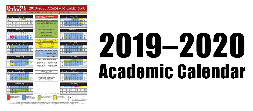 2019-2020 Academic Calendar Approved - Fort Mill School pertaining to 2022 2023 Altoona Area School District Calendar