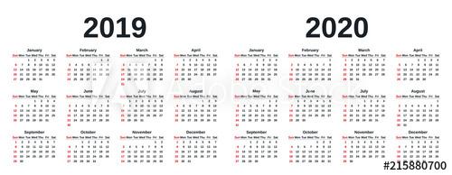"""2019, 2020 Calendar. Vector Graphics. Week Starts Sunday with regard to Retsil 4 5 4 Cakander"