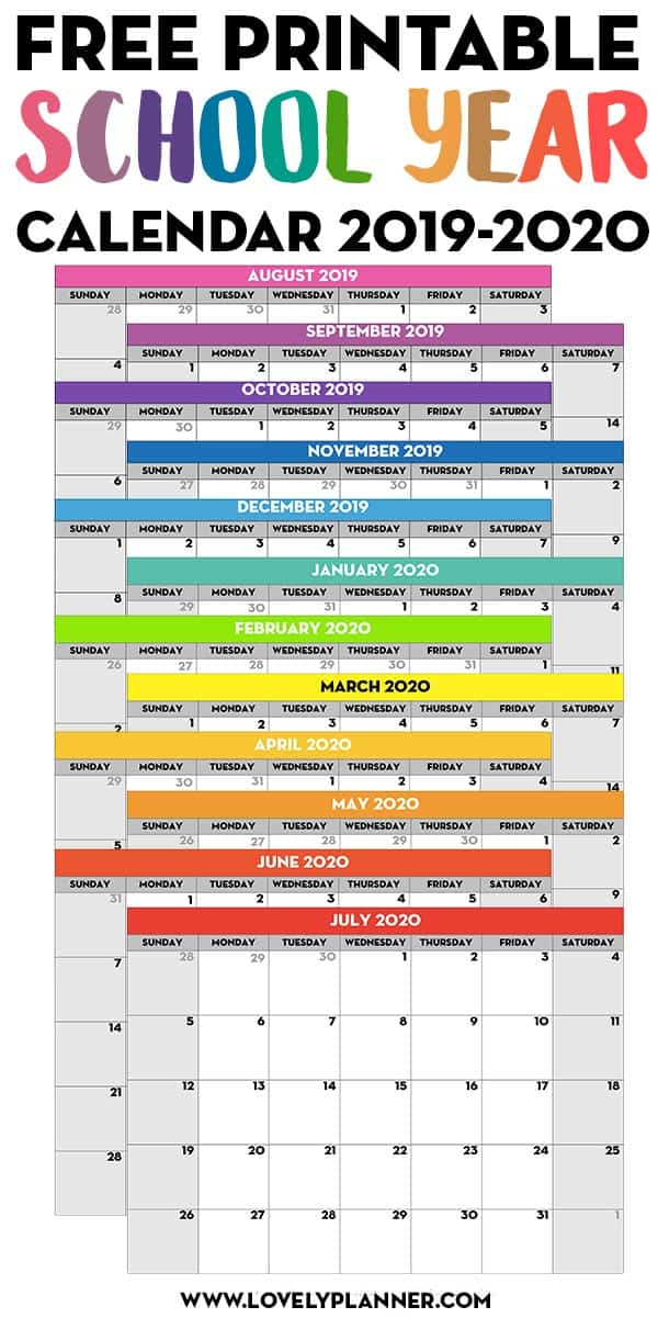 2019 2020 Free Printable School Calendar - Lovely Planner intended for Are Daily Holiday Calendars Copyright