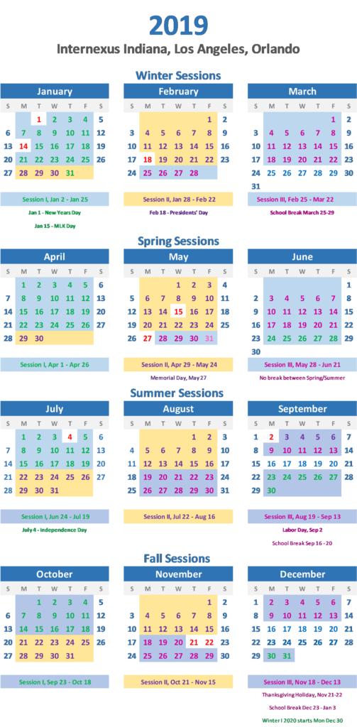 2019 Calendar in Elementary School San Digeo Holiday Calendar 2022