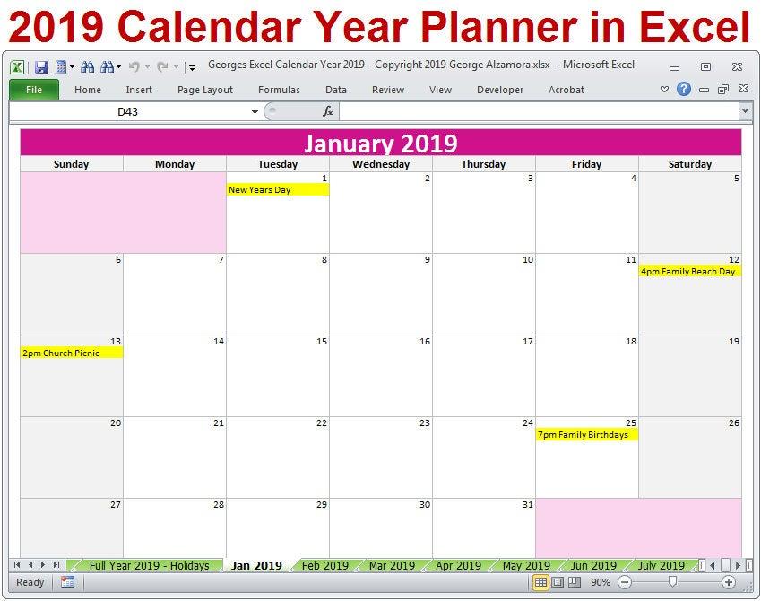 2019 Calendar Year Printable Planner Excel Templates 2019 intended for 4 5 4 Retail Calendar Printable