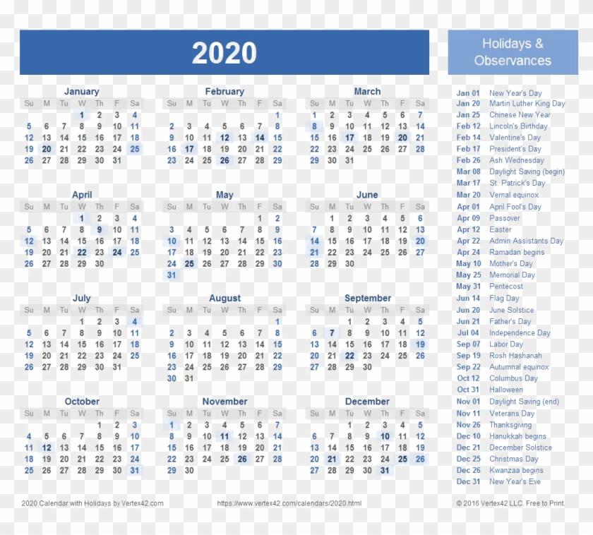 2020 Calendar Transparent Background - Free Printable 2020 for Are Daily Holiday Calendars Copyright