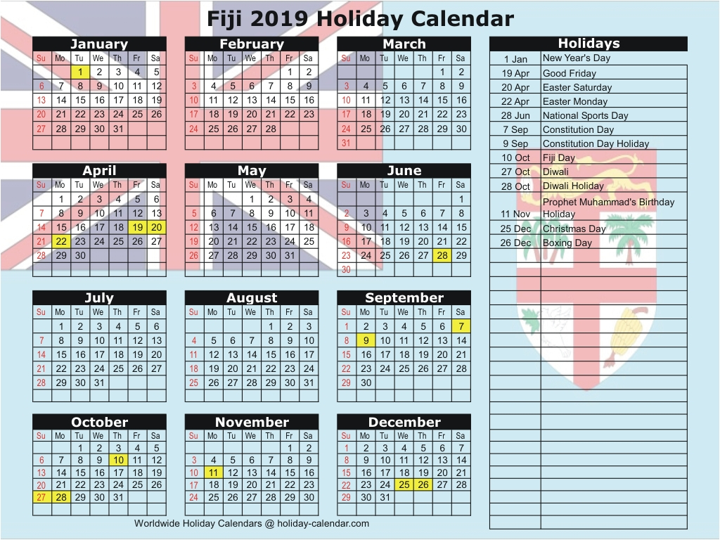 2020 Calendar With Holidays Fiji   Free Printable Calendar in Are Daily Holiday Calendars Copyright