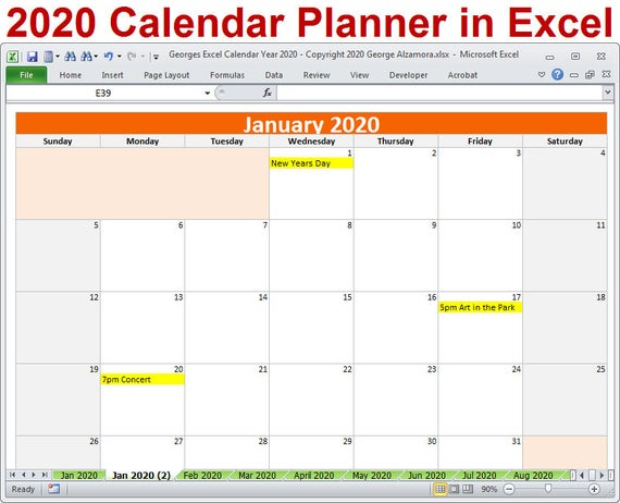 2020 Calendar Year Planner Excel Template 2020 Monthly pertaining to Connect Excel To Calendar