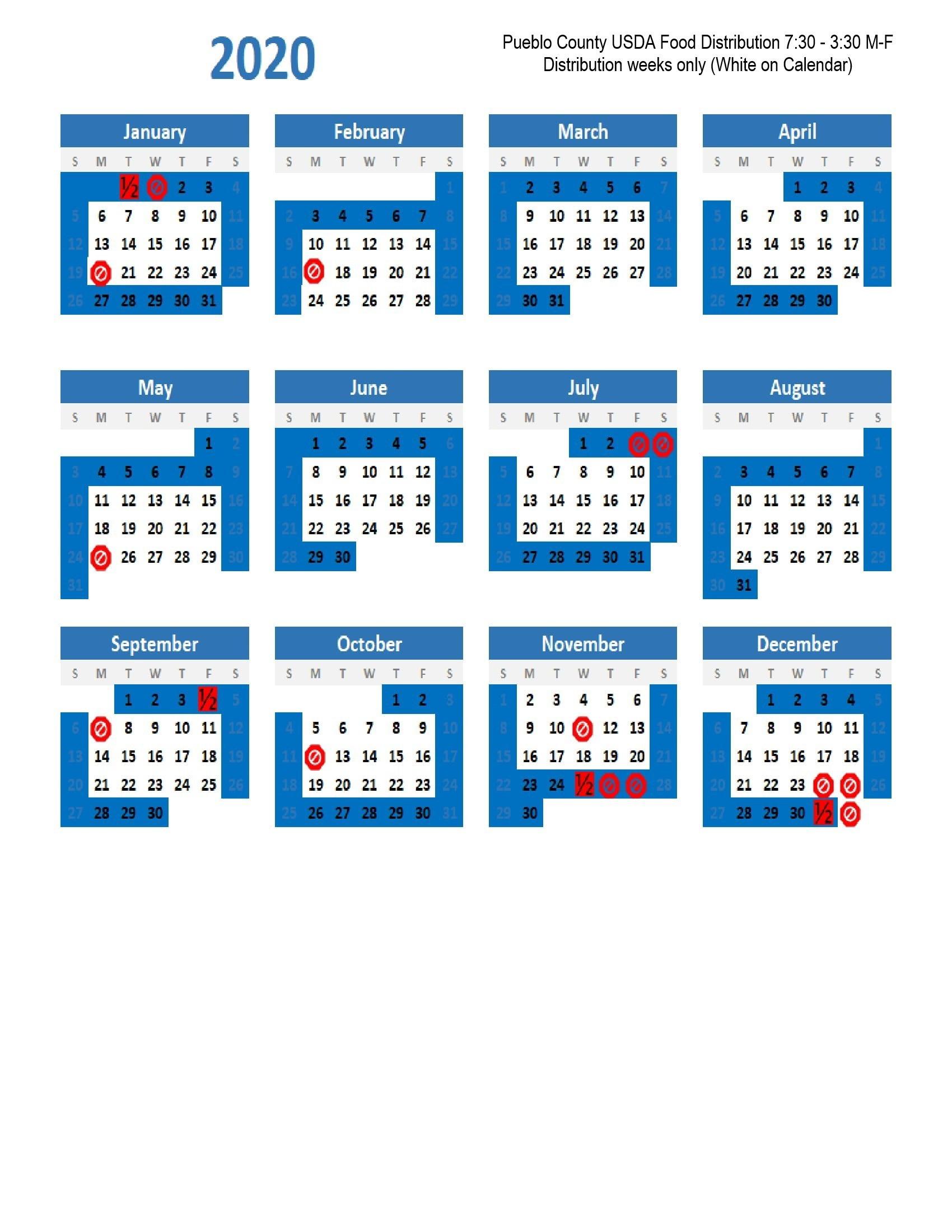 2020 Food Distribution Calendar | Pueblo County regarding Lane County Court Holiday Calendar