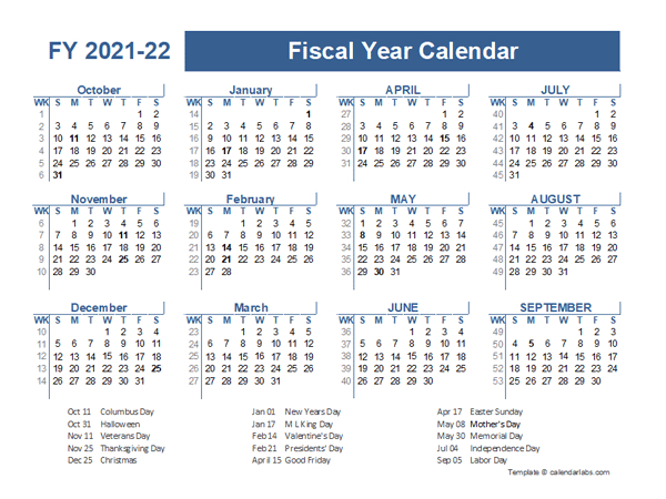2021-2022 Fiscal Planner Us - Free Printable Templates intended for Walmart Fiscal Calendar For 2022