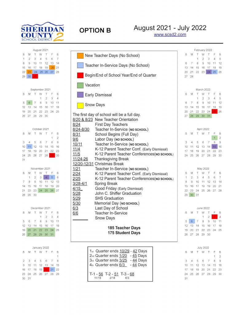 2021-2022 School Calendar: Please Vote | Sheridan County with regard to 2022 Monterey County Schedule