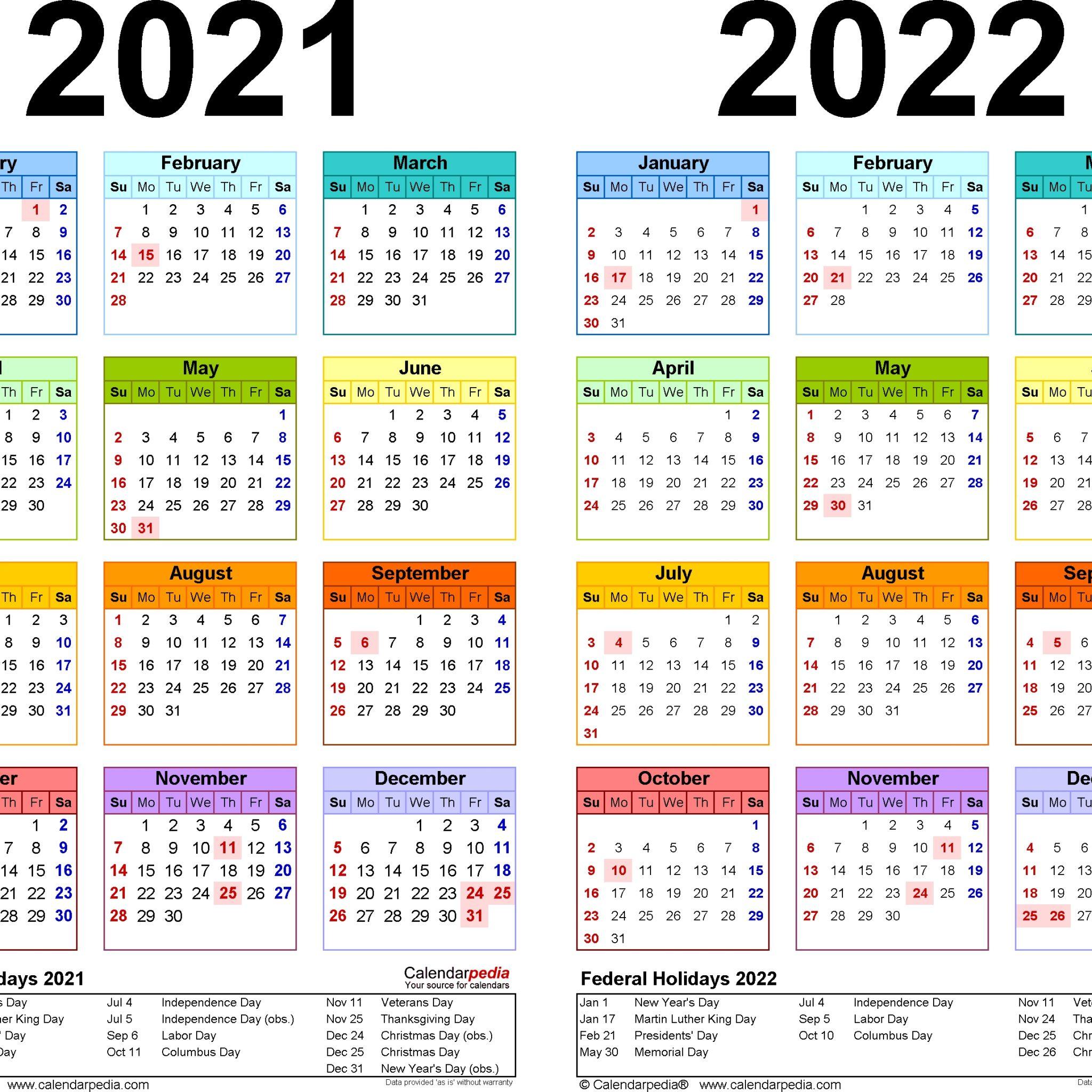 2021-2022 Two Year Calendar - Free Printable Excel in Alternate Side Parking Calendar 2022