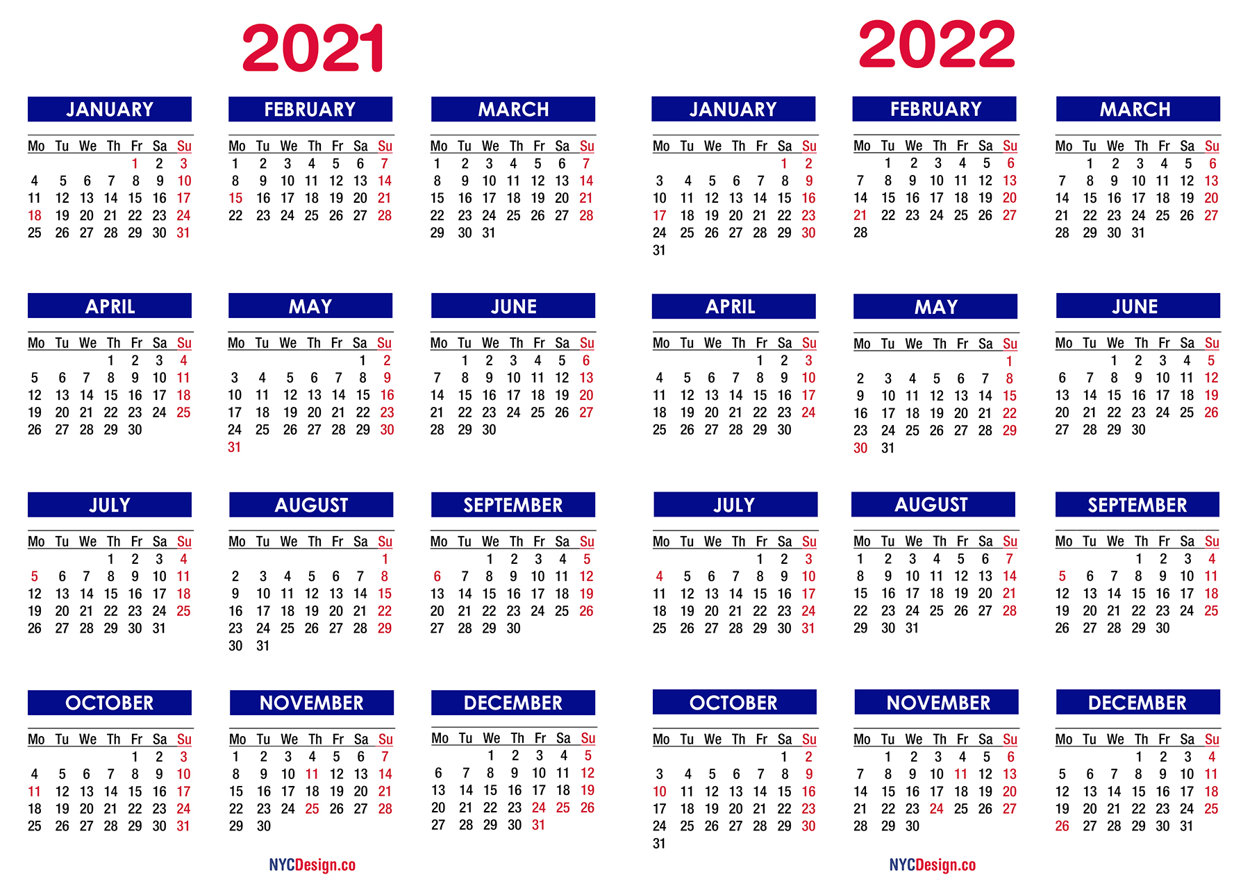 2021 - 2022 Two Year Calendar With Holidays, Printable pertaining to Walmart Fiscal Calendar For 2022