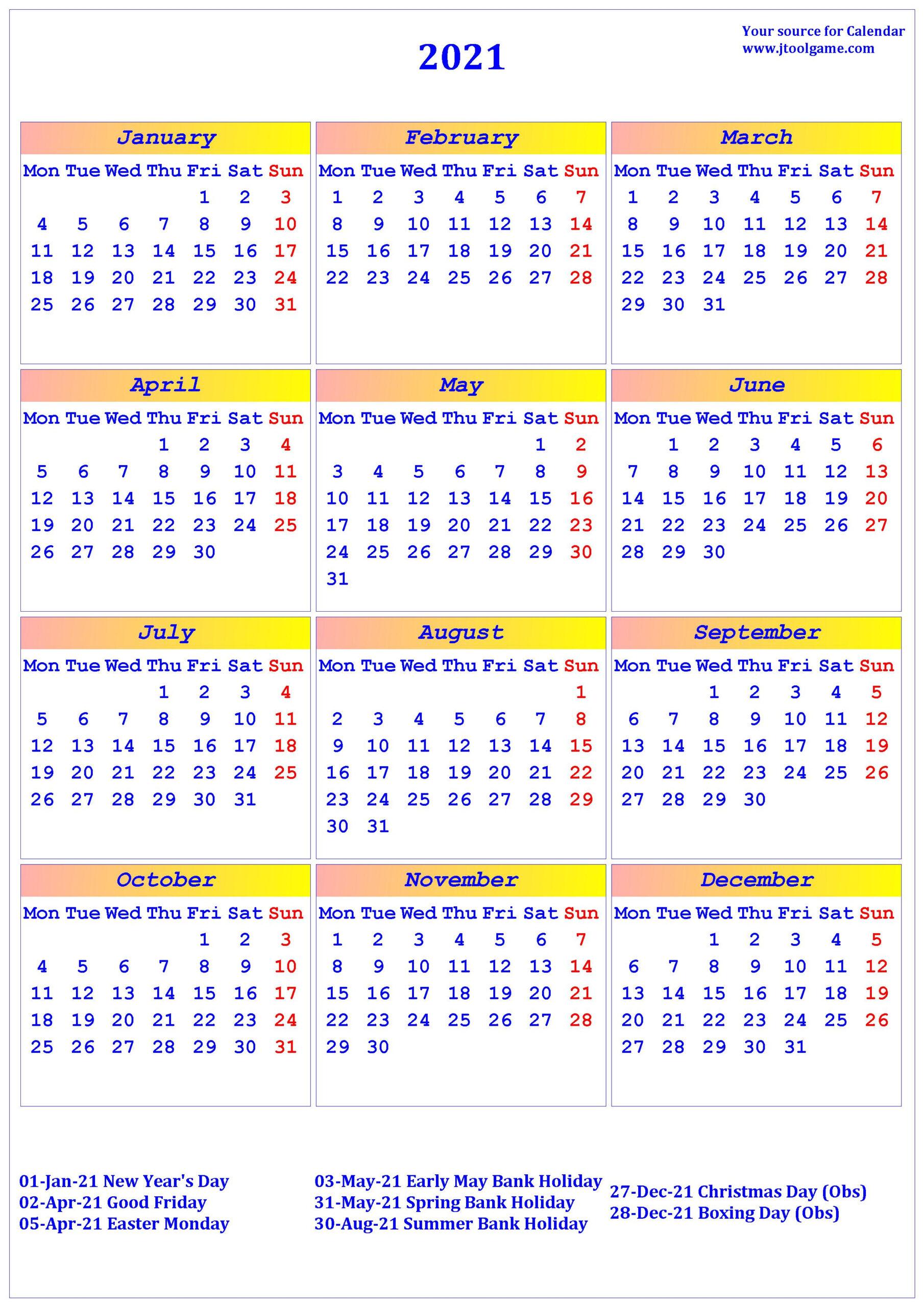 2021 Calendar - Printable Calendar With Usa Holidays in Are Daily Holiday Calendars Copyright