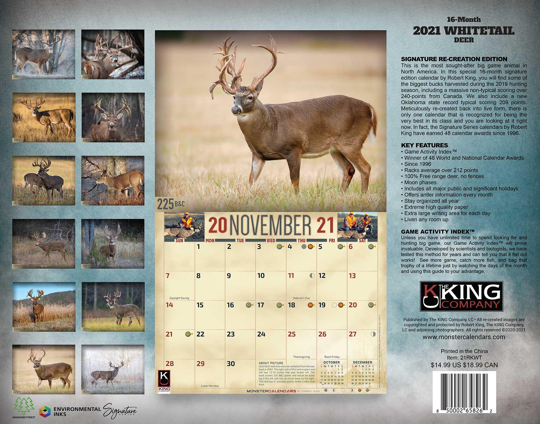 2021 Whitetail Deer Calendar, 2021 Whitetail Buck Calendar throughout 20222 Lunar Hunting Calendar