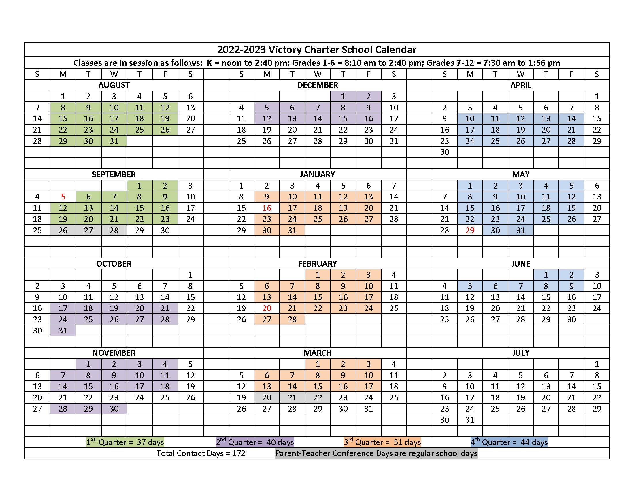 2022-2023 Calendar | Victory Charter School for Aiken County 2022 2023 School Calendar