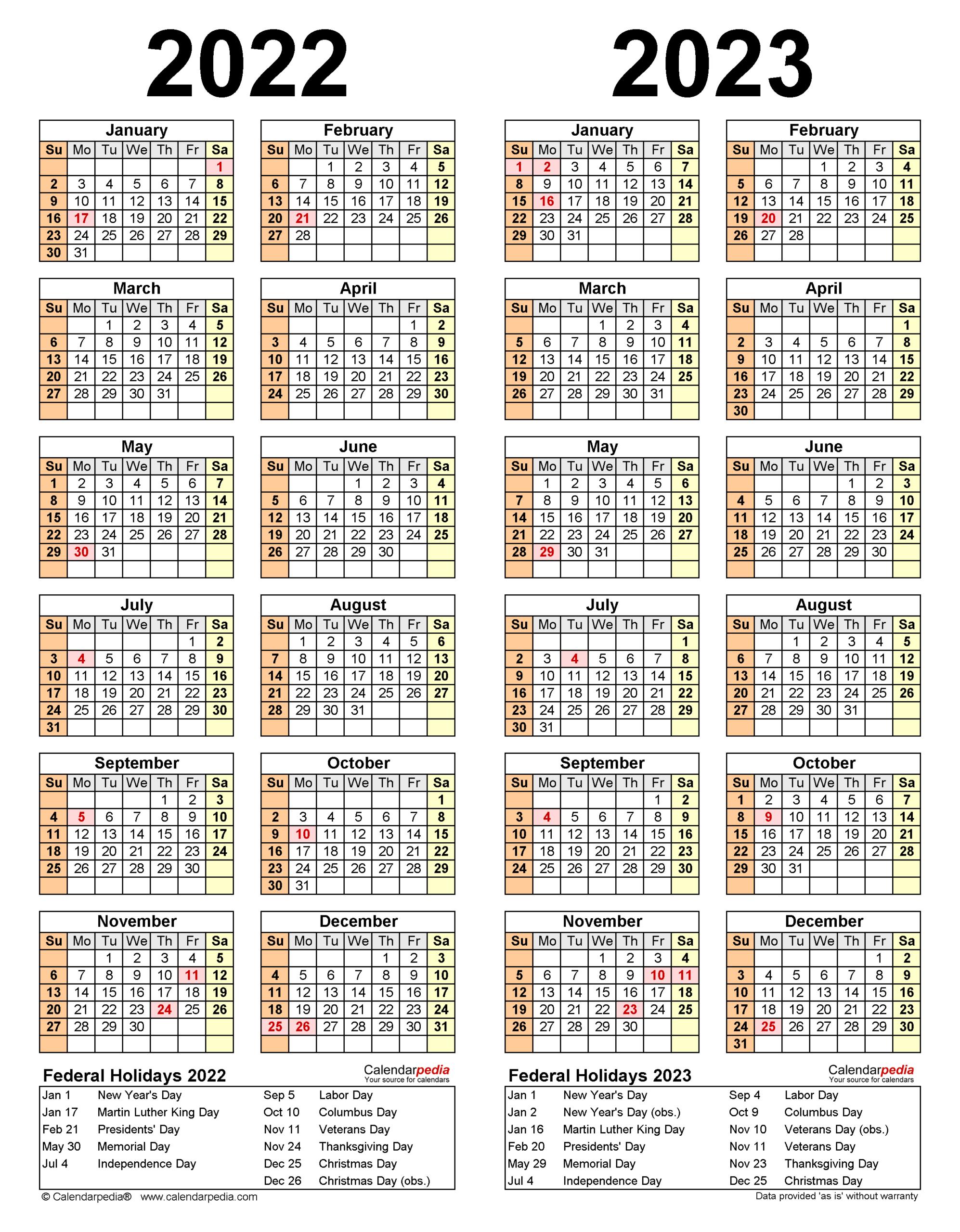 2022-2023 Two Year Calendar - Free Printable Word Templates in Walmart 2022 2023 Fiscal Calendar