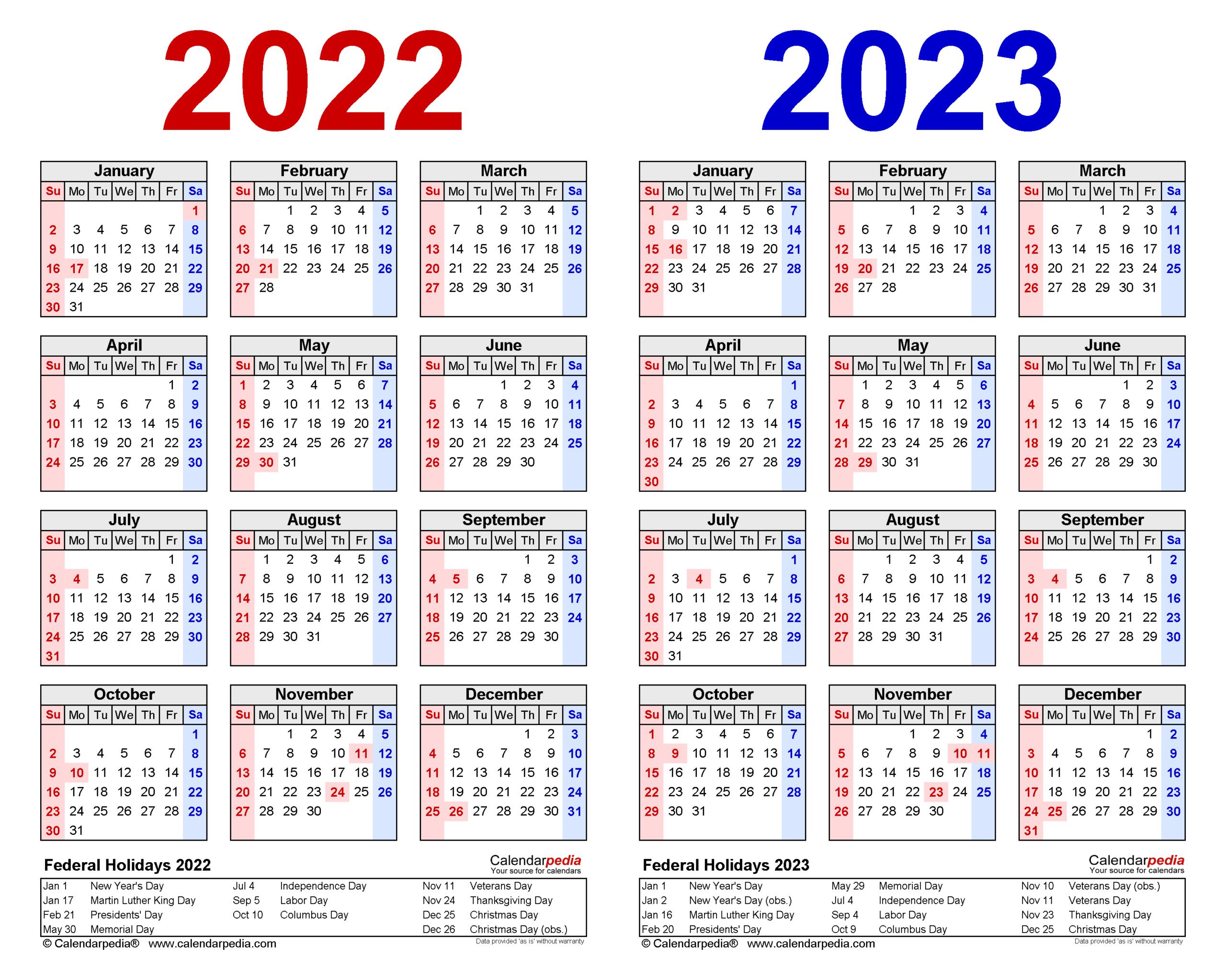 2022-2023 Two Year Calendar - Free Printable Word Templates throughout U Of Minnesota 2022 Acedamic Calendar