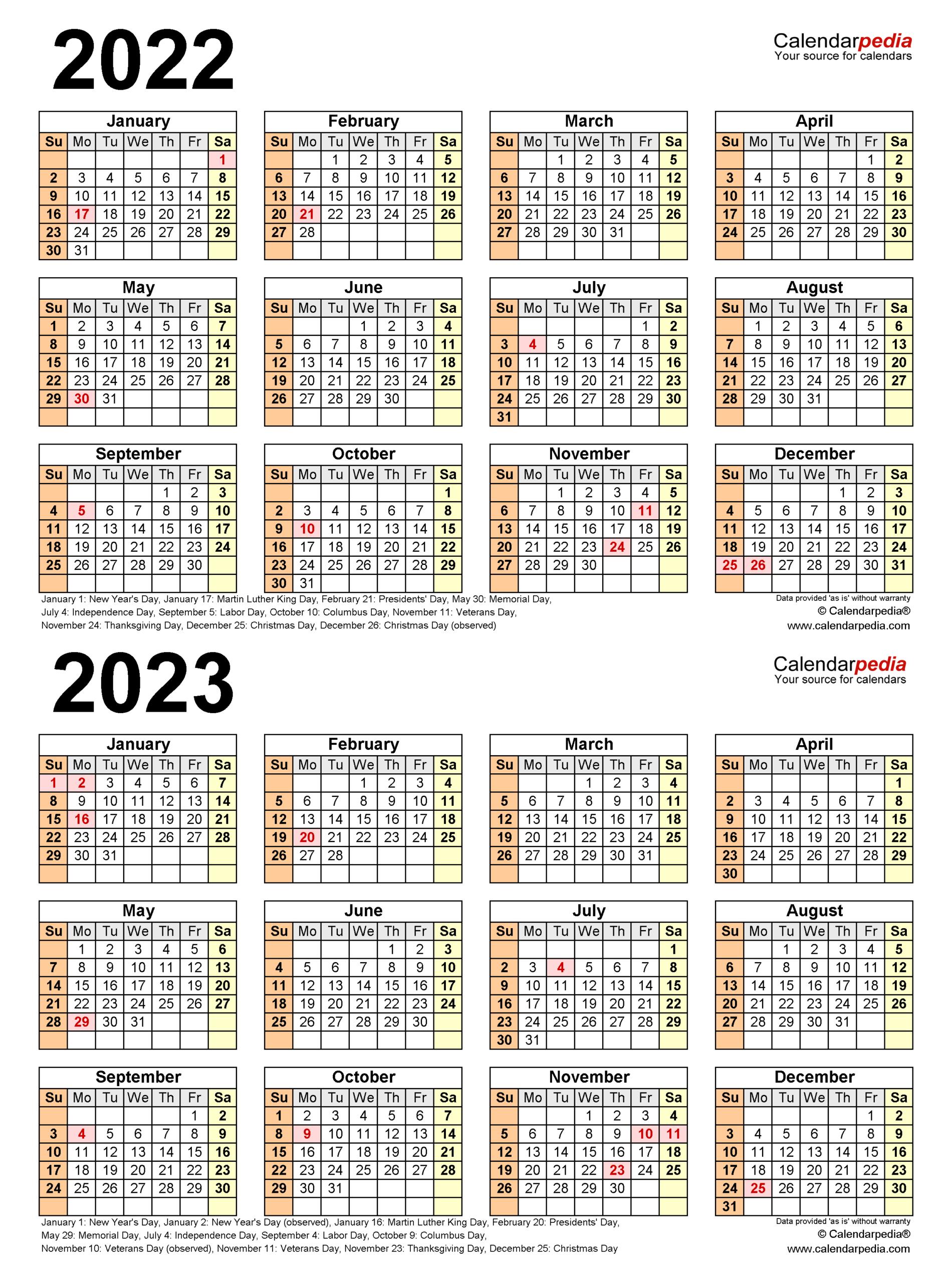 2022-2023 Two Year Calendar - Free Printable Word Templates within 2022 2023 School Calendar North Penn