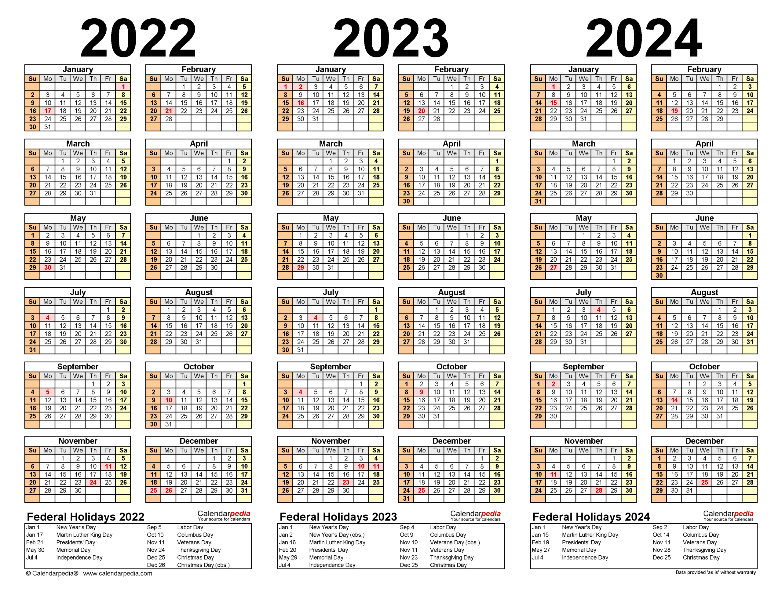 2022-2024 Three Year Calendar - Free Printable Pdf Templates pertaining to Alternate Side 2022 Calendar