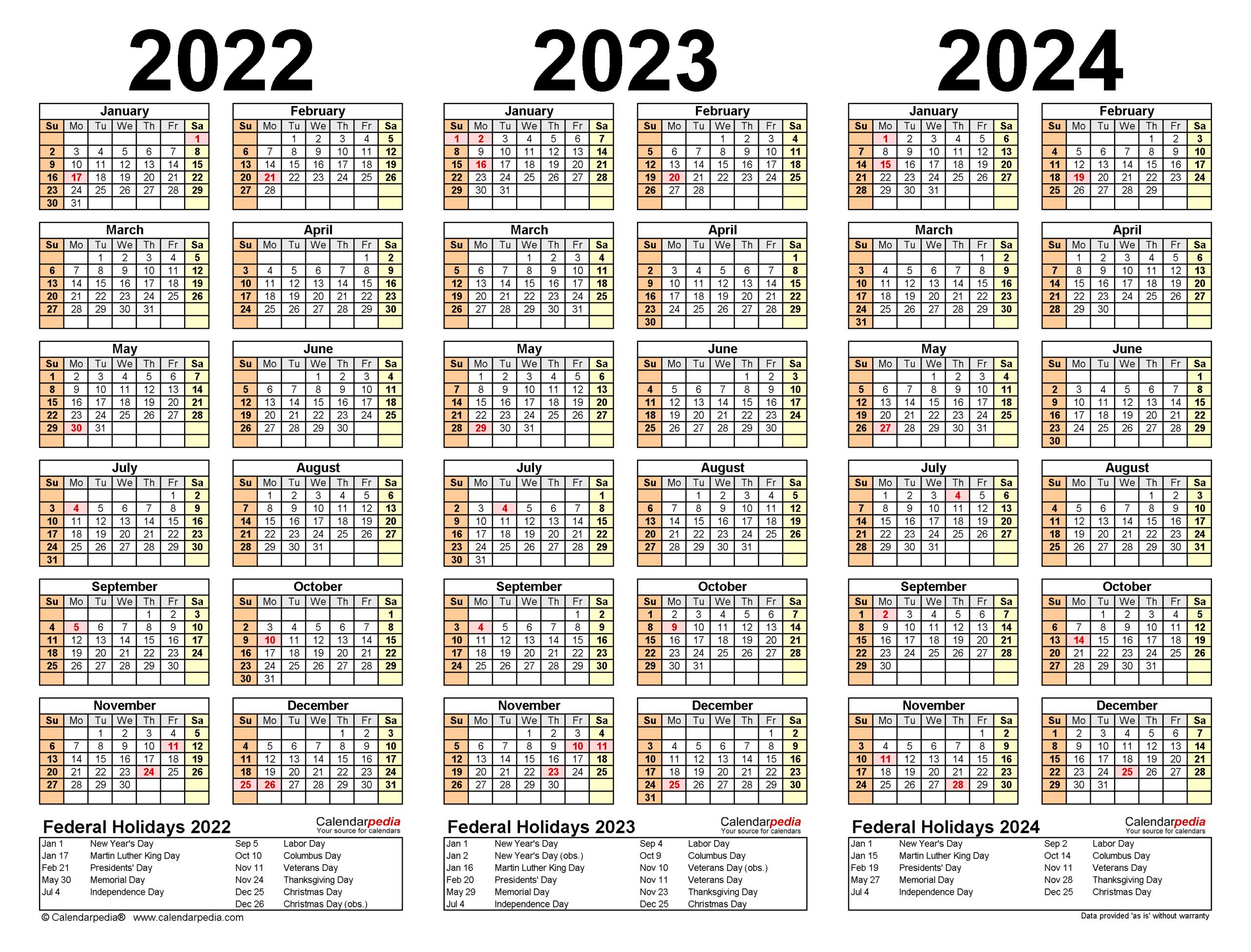 2022-2024 Three Year Calendar - Free Printable Pdf Templates within 2022 2023 School Calendar North Penn