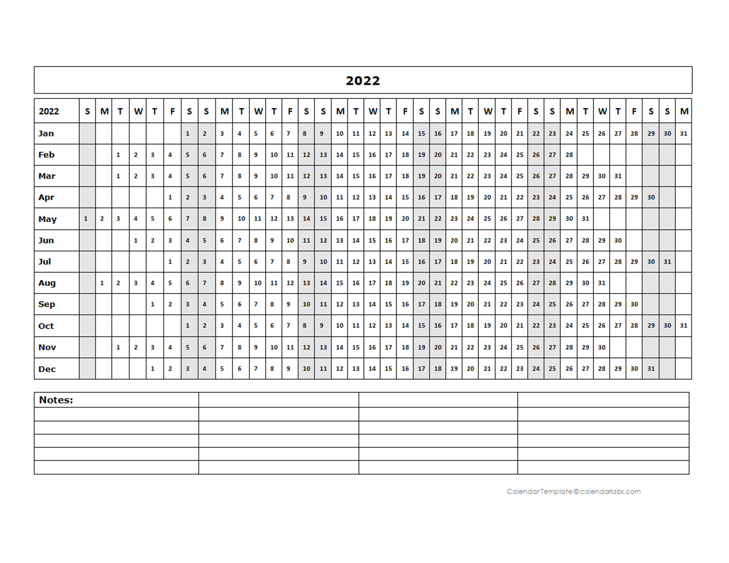 2022 Blank Landscape Yearly Calendar Template - Free pertaining to Julian Date Calendar For 2022