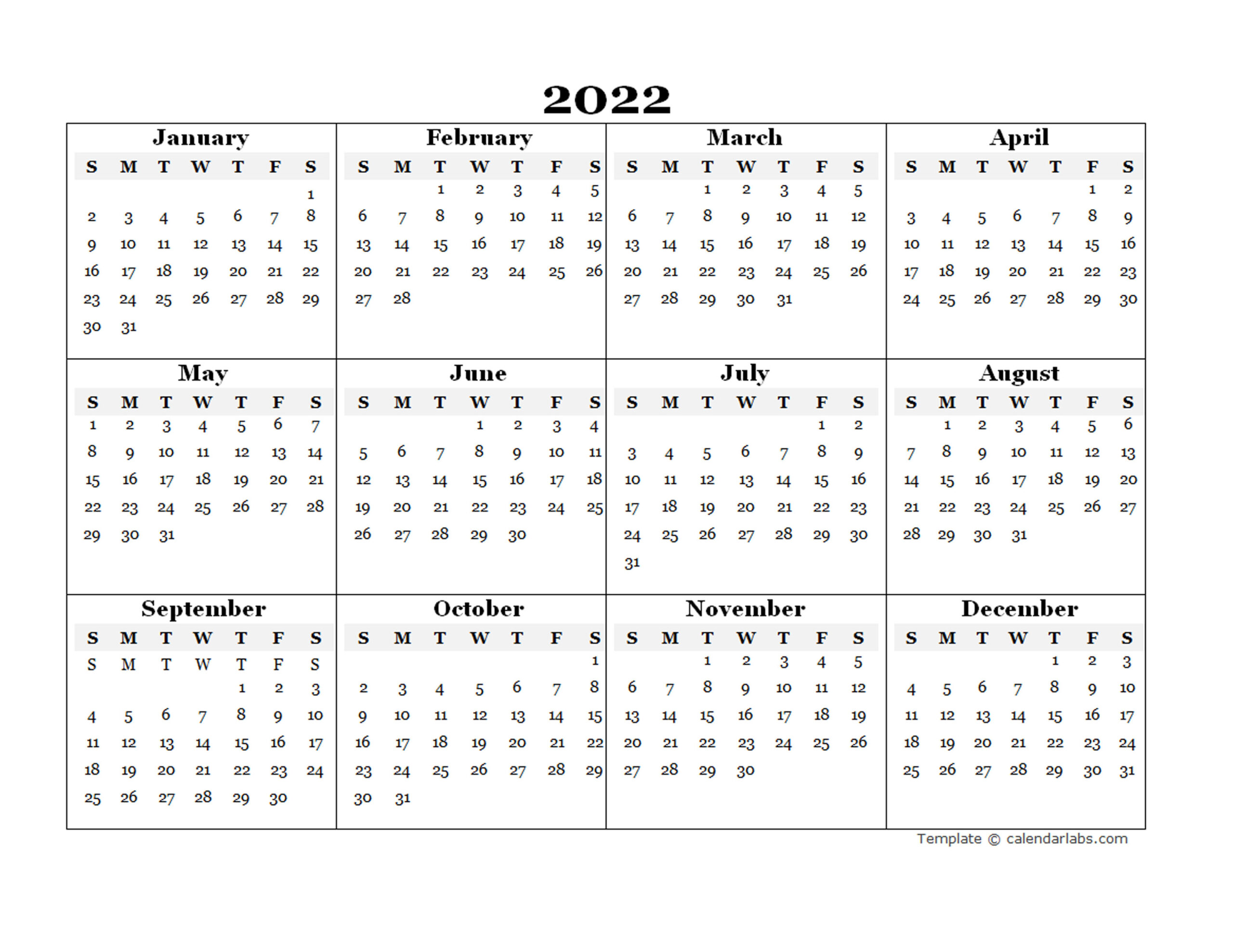 2022 Blank Yearly Calendar Template - Free Printable Templates with 2022 Day To Day Calendars For Men