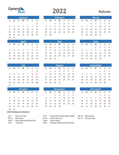 2022 Calendar - Bahrain With Holidays intended for Walmart Fiscal Calendar For 2022