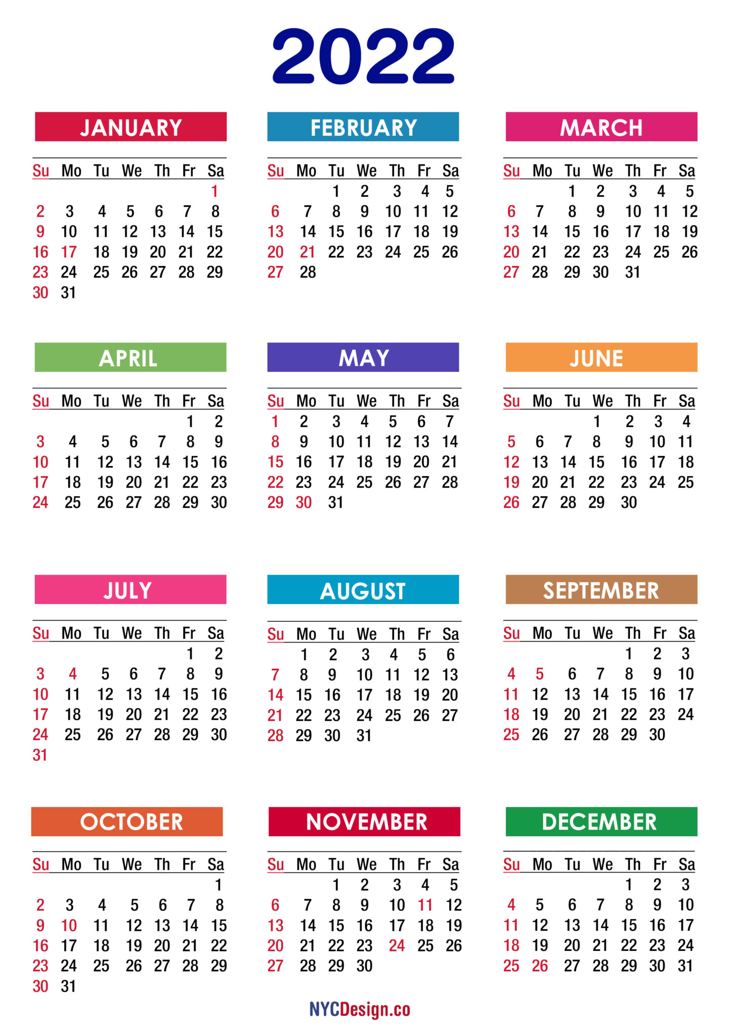 2022 Calendar With Holidays, Printable Free, Pdf, Colorful in 2022 Calendar Everydays A Holiday