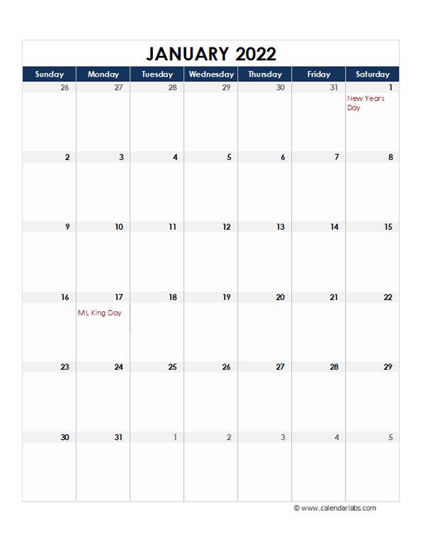 2022 Excel Monthly Calendar Template - Free Printable for Julian Calendar 2022 Printable