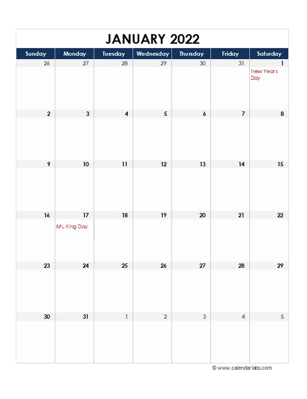 2022 Excel Monthly Calendar Template - Free Printable Templates intended for 2022 Printable Julian Date Calendar