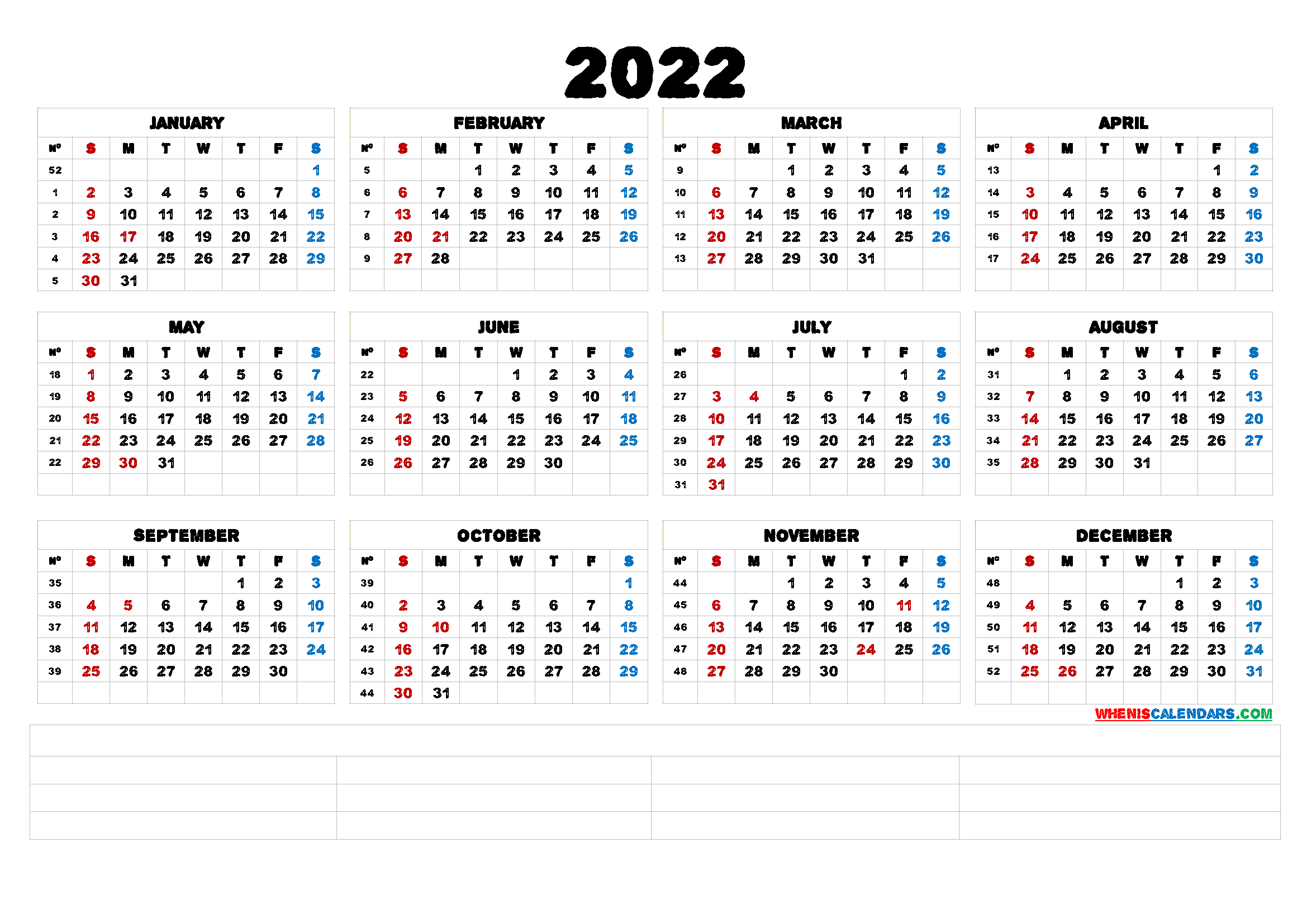 2022 Free Printable Yearly Calendar (6 Templates) - Free for 2022 Day To Day Calendars For Men