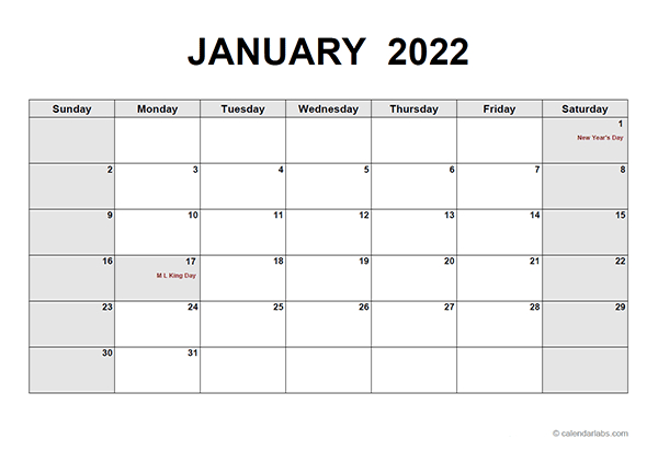 2022 Monthly Calendar Pdf - Free Printable Templates in Julian Calendar 2022 Printable