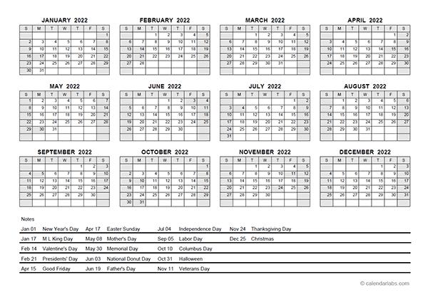 2022 Pdf Yearly Calendar With Holidays - Free Printable pertaining to Julian Calendar 2022 Printable