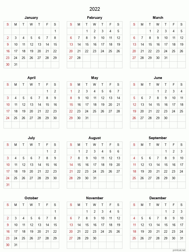 2022 Printable Calendar - Full-Year Calendar (Grid Style) throughout 2022 Day To Day Calendars For Men