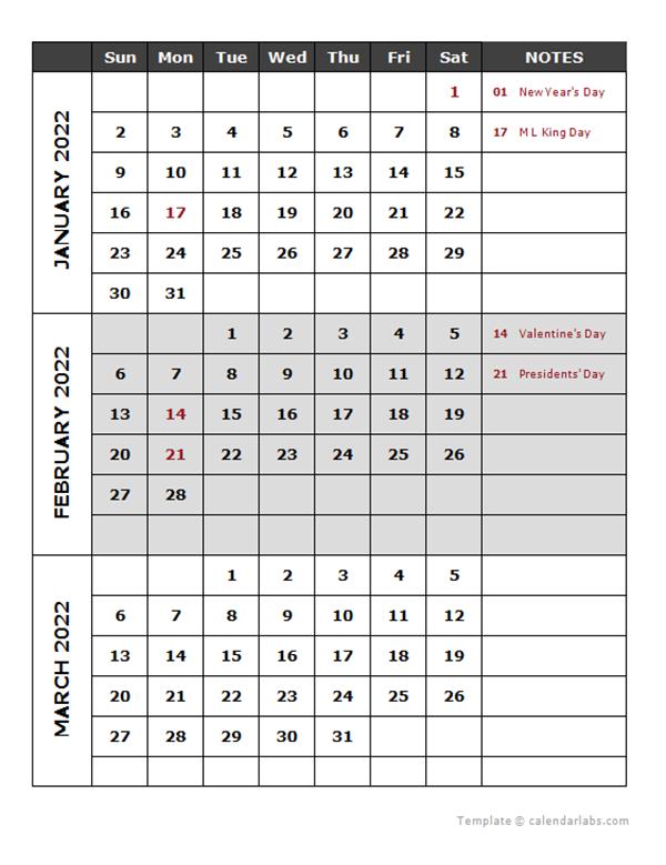 2022 Quarterly Calendar Template - Free Printable Templates intended for Julian Calendar 2022 Printable
