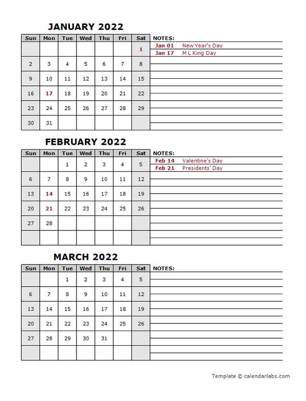 2022 Quarterly Calendar With Holidays - Free Printable pertaining to Julian Calendar 2022 Printable